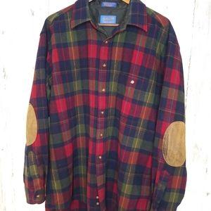 Pendleton/Wool PlaidFlannel ButtonUp/Elbow Patches